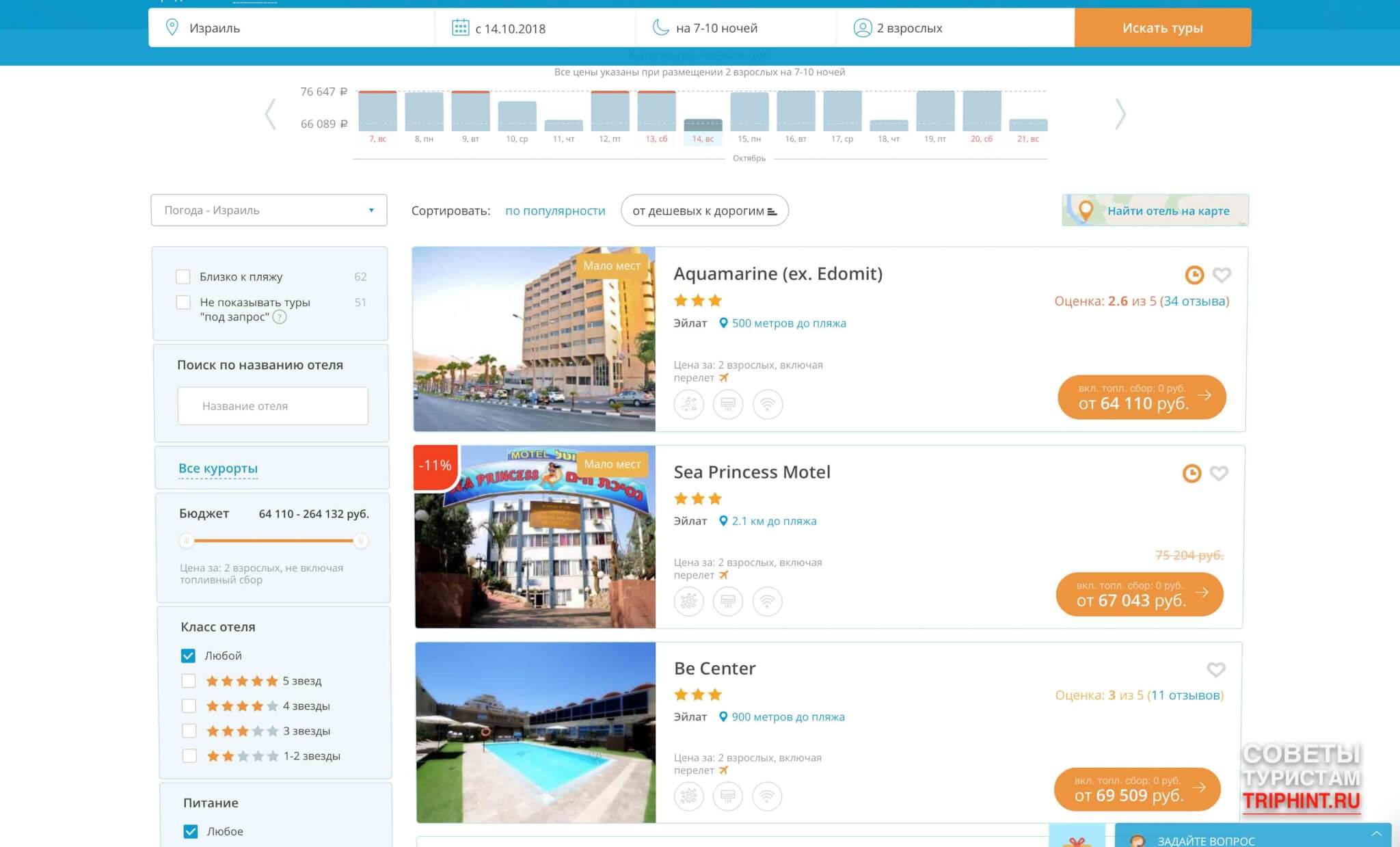 Цены на туры в Израиль в октябре. Отели Aquamarine, Be center, Sea Princess Motel в Эйлате