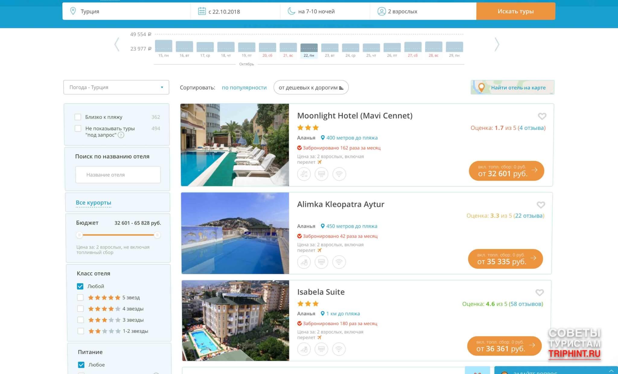 Турция в октябре. Цены на путевки. Горящие туры