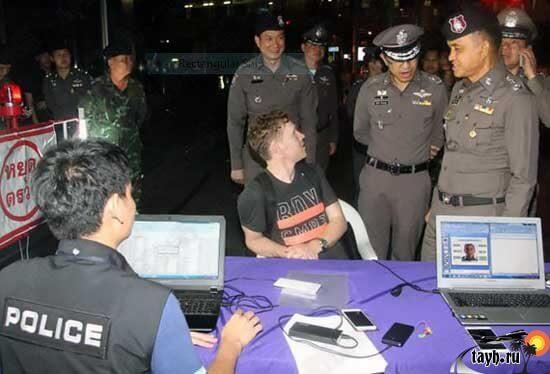 Проверка паспартов туристов в Тайланде, выявление нелегалов