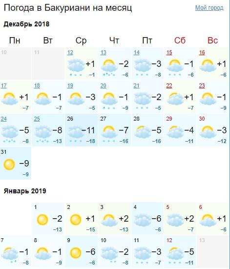 Погода в Грузии на новый год в Бакуриани на декабрь - январь