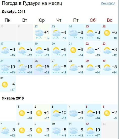 Погода в Грузии на новый год в Гудаури на декабрь - январь