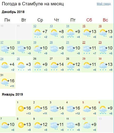 Погода в Турции на новый год: Стамбул (декабь-январь)